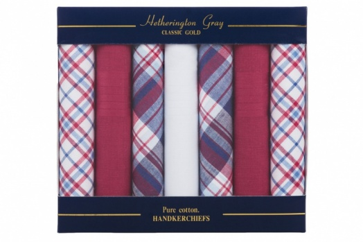 7 Pack Mixed Design Red White and Blue Handkerchiefs